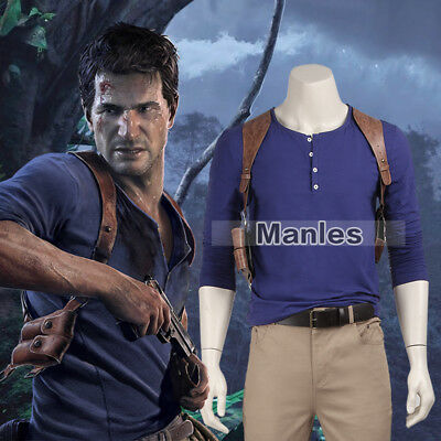 Uncharted 4 A Thief's End Nathan Drake Costume Cosplay Game Men Halloween - Drake Halloween Costume