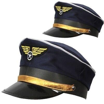 Adult Deluxe Blue AIRLINE PILOT Hat Cap Flying - Pilot Cap Kostüm