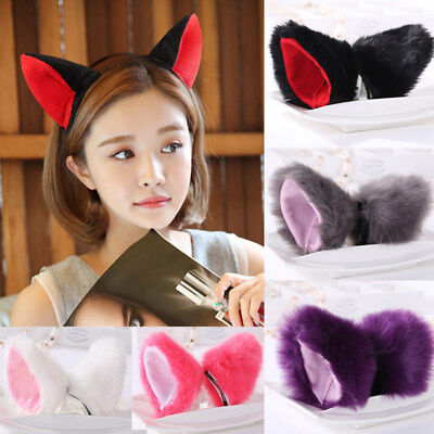 1 Pair Hair Clip Cat Fox Ears Anime Costume Headband Cute For Cosplay Halloween - Halloween Duo Costumes For Adults