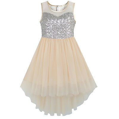 Kids Flower Girl Dress beige Sequined Tulle Wedding Party Dresses Age 7-14 Years](Flower Girl Age)