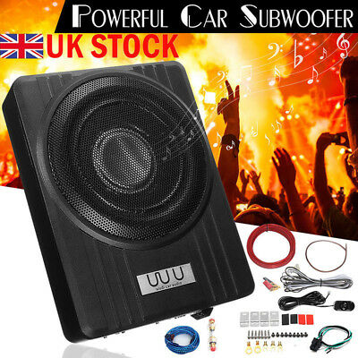12V 600W 10'' Ultra-Thin Active Car Under-Seat Subwoofer Sub Box Speaker Amp UK