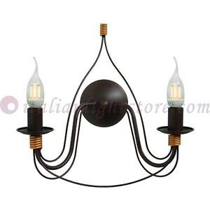 Lampada da parete applique 2l fiammingo ferro battuto classico rustico country ebay - Applique da parete in ferro battuto ...
