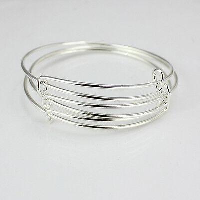 10Pcs erweiterbar Silber Armreif Armband Draht einstellbar umwickelt Bulk-N E0I1