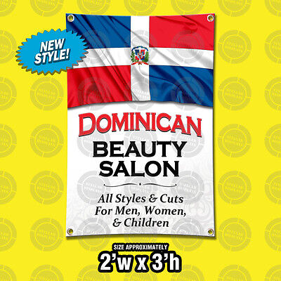 Dominican Beauty Salon Banner Barber Open Sign Hair Stylist Poster Display Vinyl