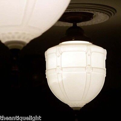 606 Vintage aRT DEco 30's 40's Ceiling Light Lamp Fixture Glass  May have more?