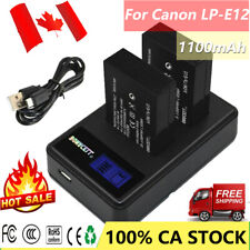 2x LP-E12 Battery + LCD Dual charger kit For Canon EOS M M2 M10 M50 M100 100D CA