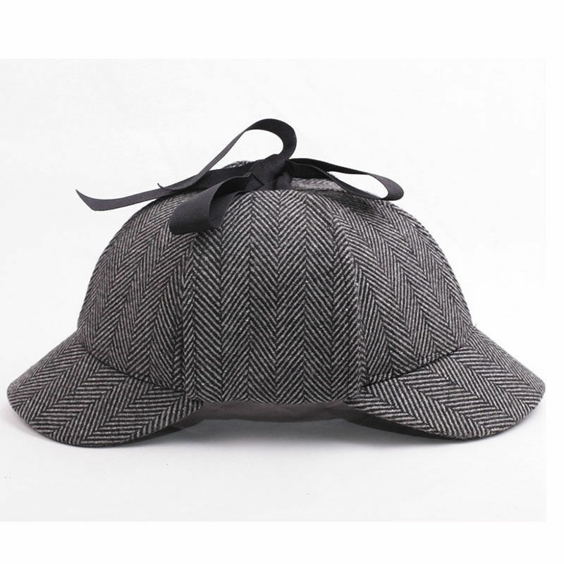 4d9641a6bbe Details about Mens Vintage British Style Wool Tweed Deerstalker Hat Hunting  Cap w  Ear Flaps