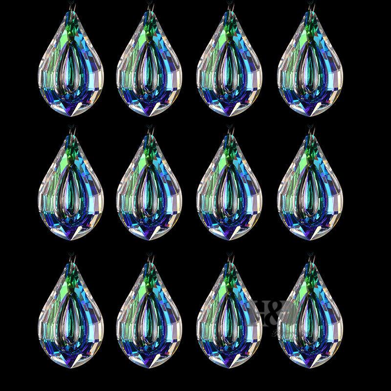 Colorful Glass Crystal Loquat Shape Chandelier Prisms Hanging Drops Pendant 76mm