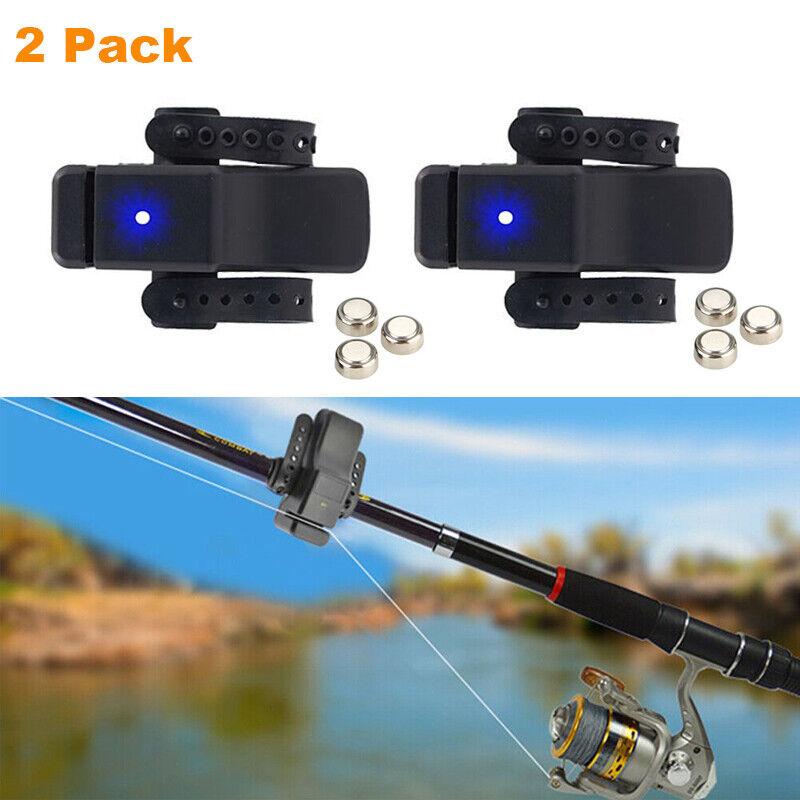 4 x Electronic LED Light Fishing Bite Sound Alarm Alert Bell Clip On Fishing Rod