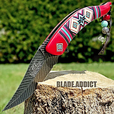 Native Americans Feathers - Native American Indian Spring Assisted Open Pocket Knife Damascus Feather Red