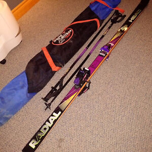 RADIAL HEAD SKIS (190), TYROLLA 590 BINDINGS, HEAD POLES AND BAG
