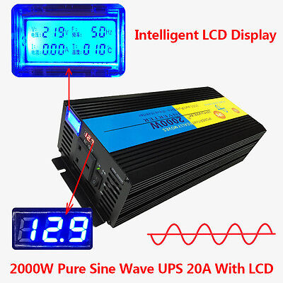 LCD 4000W peak 2000W Pure Sine Wave Power Inverter 12V DC to 220V AC UPS Charger