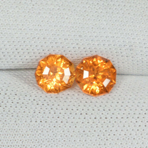 1.33Cts Best Luster Fanta Orange Natural Mandarin Garnet Fancy Round Pair..!!