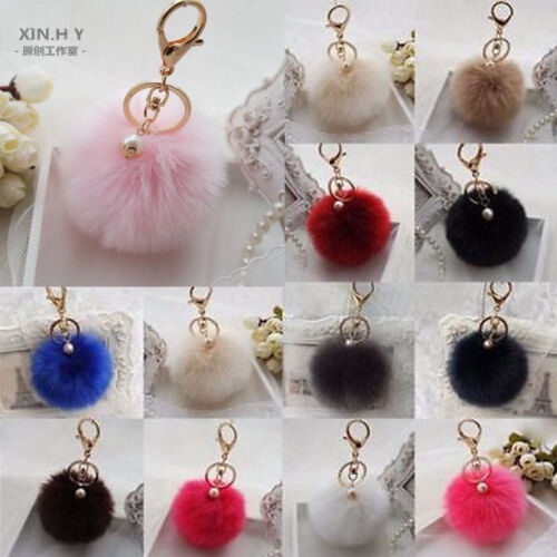 Charm Key Ring Rabbit Fur Ball Pompom Cell Phone Car Keychain
