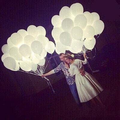 50x LED 30cm Helium Weiß Ballons für Hochzeit Party Kind Geburtstag Luftballon
