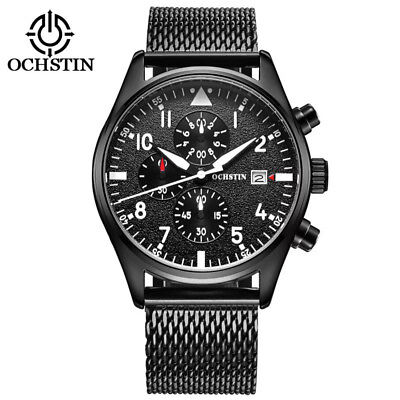 New Fashion Men's Mesh Bracelet Date Display Waterproof Chronograph Wrist Watch (Chronograph Date Display)