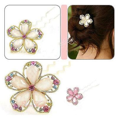 Fashion Women Crystal Rhinestone Flower Hair Clip Barrette Hair Jewelry New 1 pc