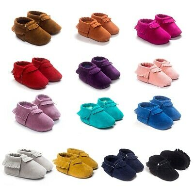 US Cute 0-18M Baby Tassel Suede Leather Shoes Newborn Moccas