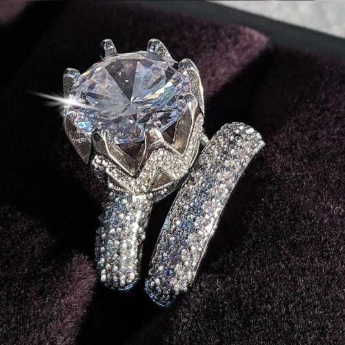 Luxury Cubic Zirconia  925 Sterling Silver Wedding Ring Set For Women
