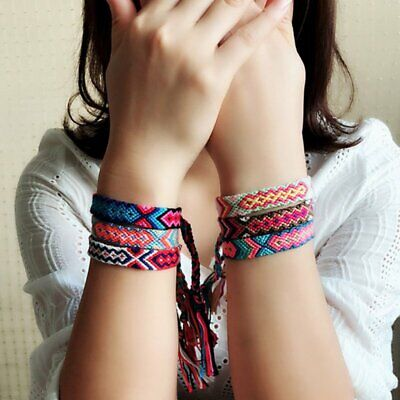 Boho Ethnic Handmade Multicolor String Cord Woven Braided Friendship Bracelet (String Bracelet)