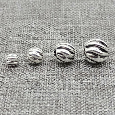 Bulk 925 Sterling Silver Corrugated Round Beads Spacers for Bracelet