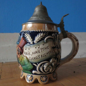 Vintage German Stein w/ Lid -- Hail Hail The Gang's All Here