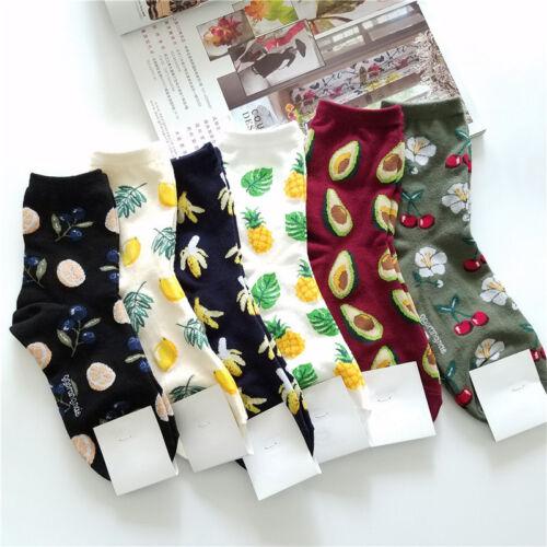 6*Obst Muster Kuschelsocken Wintersocken Hüttensocken Knöchellang Socken Damen