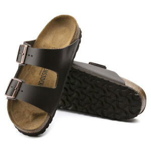 NEW-BIRKENSTOCK Arizona - Dark Brown Leather Sandals