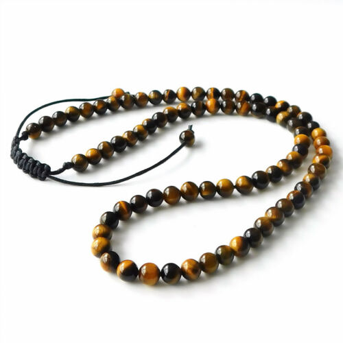 "Fashion Mens Lava Stone Tigers Eye Yoga 6mm Bead Necklace Gemstone Bracelets 21/"""