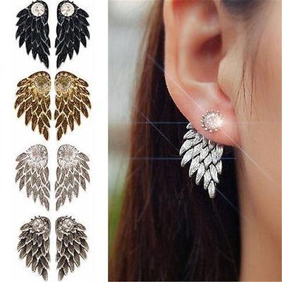 Fashion Women Angel Feather Wing Earrings Rhinestone Hook Ear Stud Hoop - Angel Wing Earrings
