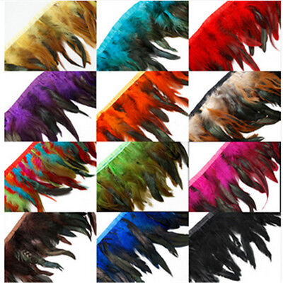 Feathers For Dresses (4-6 inch Rooster Tail Feather Trim Strip for Wedding Dress Skirt Party Clothing)