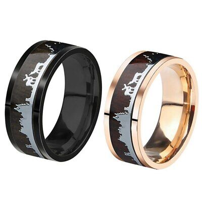 Mens Womens Black Or Rose Gold Tungsten Wood Inlay Ring Wedding Band Buck Deer (Wood Womens Ring)