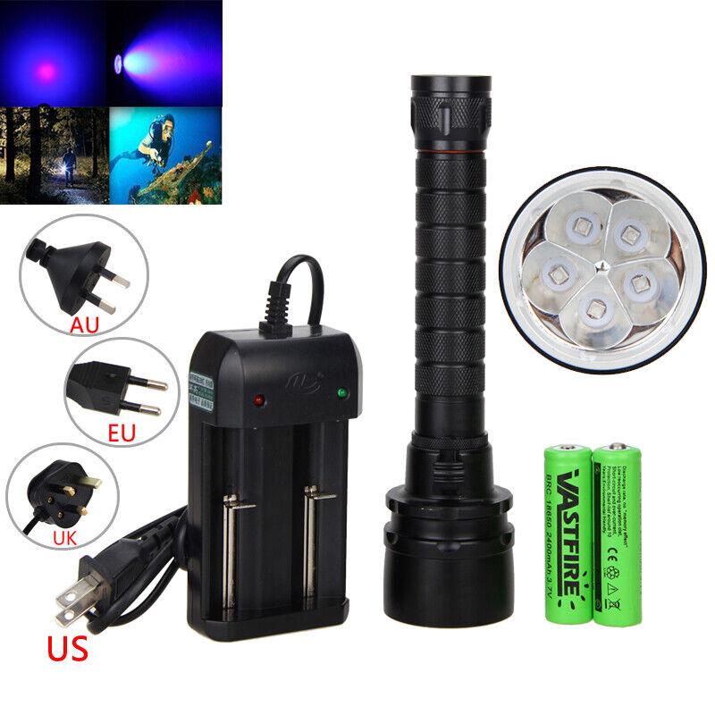 Underwater 100m 395nm Diving 5x UV LED Dive Scuba Flashlight Hunting Torch Light