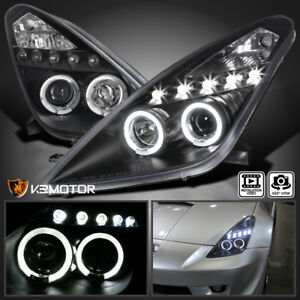 For 2000-2005 Toyota Celica LED Halo Projector Headlights [JDM Black] Left+Right