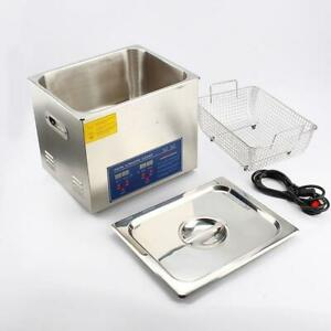 Commercial 110v Ultrasonic Cleaner 15L Large Capacity Stainless Steel with Heater and Digital Timer for Electronic Tool