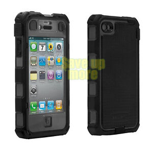 Genuine Ballistic HC Hard Core Armor Case For iPhone 4 4G 4S Black Grey +Holster