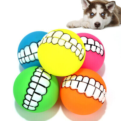 Pet Funny Teeth Rubber Dog Ball Squeak Chew Toy Sound Toys Pet Accessories