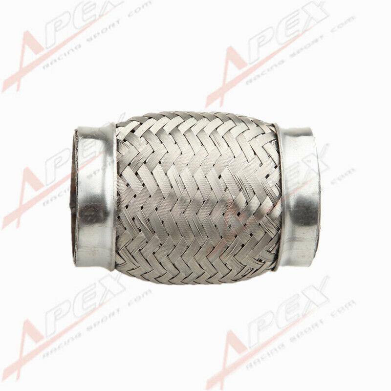 """2/"""" Exhaust Flex Pipe 2/"""" x 4/"""" Heavy Duty Stainless Steel Interlock"""