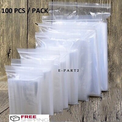 100x Clear Zip Lock Plastic Ziplock Bags Poly Jewelry Zipper Baggies Usa