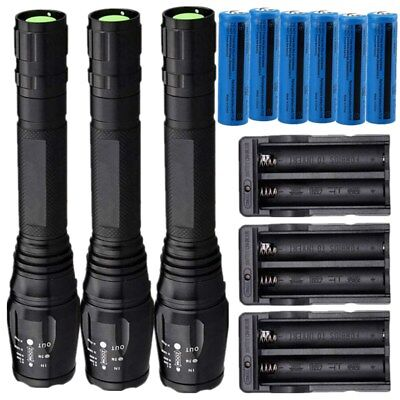3Pc 25000Lm Rechargeable Flashlight Cree Xml T6 Led Tactical Torch Batt Charger