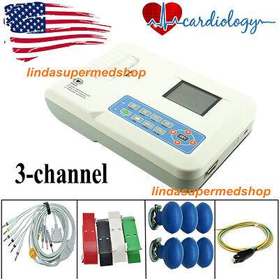 3 Channel 12 Lead Ecgekg Machineusb Pc Software Electrocardiograph Usa Fda Ce