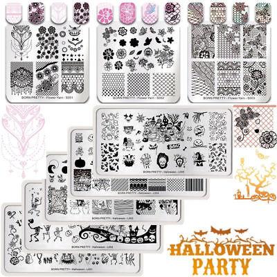 BORN PRETTY Nail Art Stamping Plates Halloween Trick or Treat Lace Templates DIY - Diy Halloween Nail Art