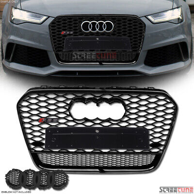 Black Chrome RS Honeycomb Mesh Hood Grille+Logo Emblem Base For 12-15 Audi A6 C7