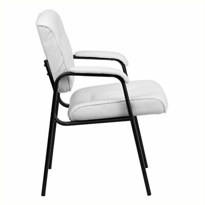 Scranton Co Leather Guest Chair With Black Frame In White