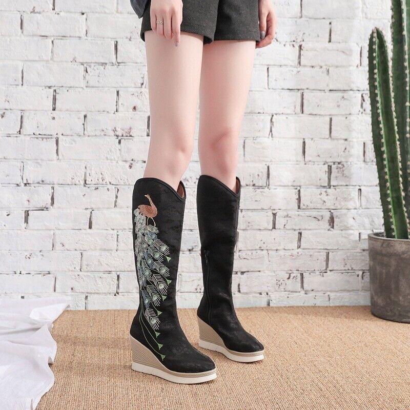 Femme chinois bottes hauteur genou ethnique brodé hauteur augmente chaussures