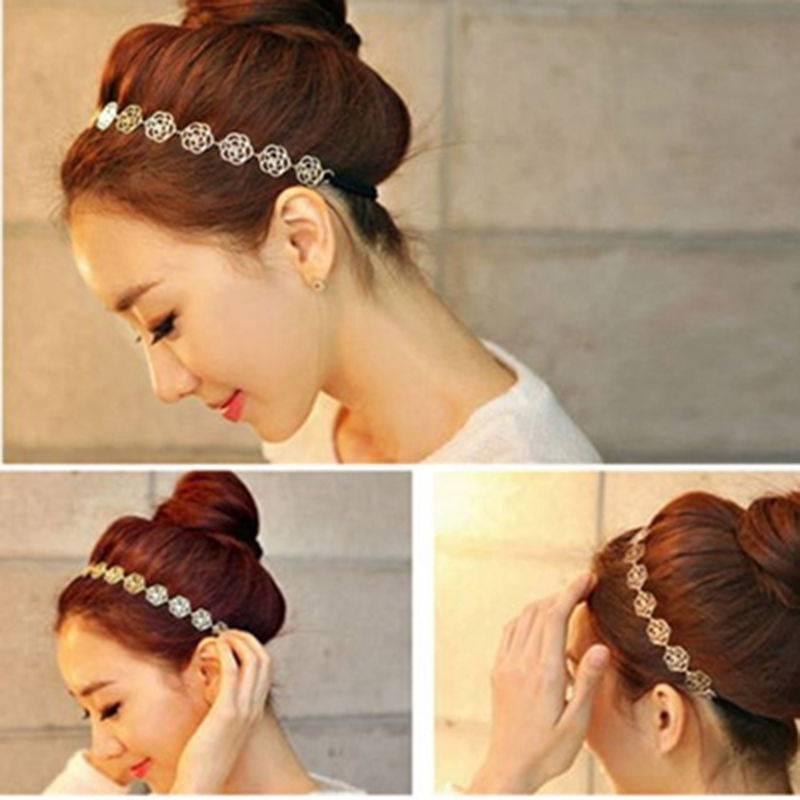 Fashion Women Jewelry Gift Metal Hollow Rose Flowers Elastic Hair Band Headband