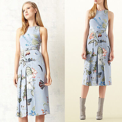 sz 40 NEW $1750 GUCCI Runway Blue Flora KRIS KNIGHT Cady BELTED Spring DRESS XS