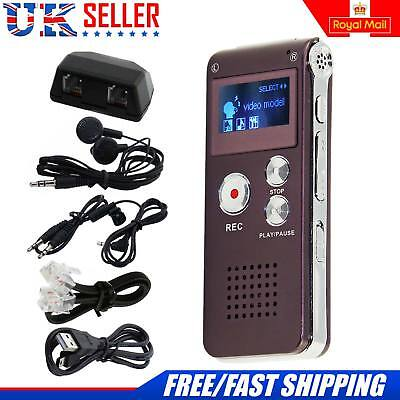 New Digital Voice Sound Recorder 8GB Rechargeable Steel Dictaphone MP3 Player UK