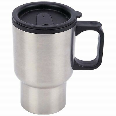 New 14oz COFFEE TRAVEL MUG Stainless Steel Black Plastic Liner Tumbler Travel ()