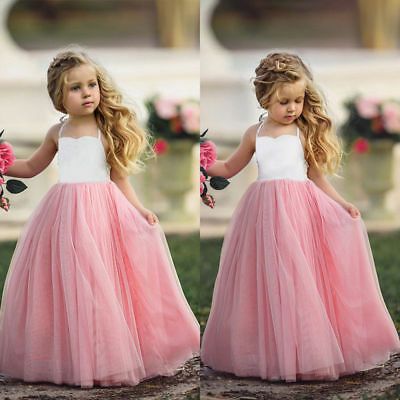 Pink Princess Wedding Party Prom Dress Skirt Tutu Dresses For Baby Girl 1-8Y New (Girl Dresses For Party)